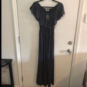 NWT~ENTRO~ Blue- off the shoulder maxi dress